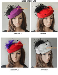 Wholesale Wholesale Woman Dress Wool Hats - NEW ARRIVAL 100% Wool felt hat winter dress hat with feathers.Ideal for derby wedding races,party,winter.