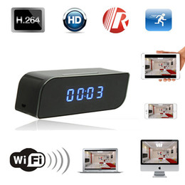 Wholesale Digital Clock Dvr - 1280x720P HD Wifi IP Camera Hidden Spy Camera Digital Clock Motion Activated Video Recorder Security Network IR DVR