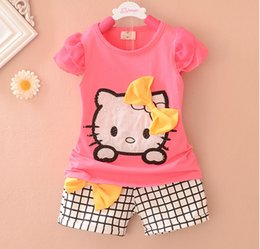 Wholesale Popular Pants - Wholesale-Summer girl popular cat top+short pant set 2 pieces children short sleeve bowknot clothes suit 4s l