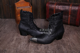 Wholesale Geniune Leather Boots - 2015 New Design Geniune Leather Black Rivet Male Martin Boots Motorcycle Pointed Boots Fashion Shoes Men Punk Lace-Up Ankle Boot