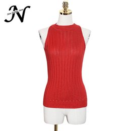 Wholesale Knitted Sweater Vest Korean - Wholesale- Knitting Vest Sweater Spring 2017 New Arrival Sleeveless Knitted Sweater Korean Fashion Clothing Solid Slim Basic Women Sweaters