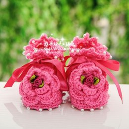 Wholesale Newborn Baby Crochet Sandal - 2015 new arrival cotton knitted baby shoes girl shoes as first walker newborn baby bare foot sandals kids shoes moccs with flowe