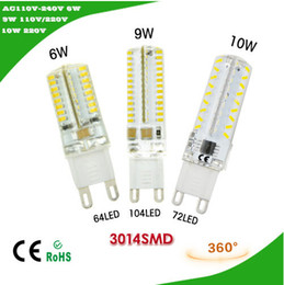 Wholesale Dimmable Candle Corn - Dimmable 220V G9 6W 9W 10W 110V - 240V LED Crystal Silicone lamp 3014 SMD Bulb Candle Chandelier 360 Degree Replace halogen Spot light