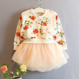 Wholesale Ladies Suit Dress Wholesale - Girls Floral dress 2015 Autumn Korean Style Childrens O-Neck floral sweatshirts Gauze long sleeve Dress Lady Style Baby Girls Suits C001