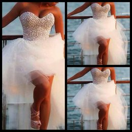 Wholesale White Simple Informal Wedding Dresses - 2015 Said Mhamad Gorgeous Sweetheart Pearl Beaded Back Front Short And Long Back High Low Wedding Dresses For Party Informal Bridal