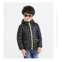Wholesale Down Feather Kids Coat - Hooded Jackets 2016 Black Children's Outwear Boys Down Jacket 4pcs lot Solid Hooded Coat Kids Parkas Kids Cotton-padded jacket