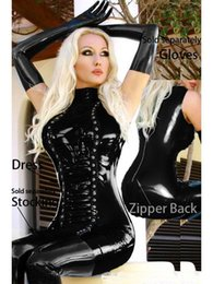Wholesale Tight Sexy Pvc Dress - Plus Size 2XL Black Latex Catsuits Clubwear Women Erotic Lingerie PVC Faux Leather Tight Dress Night COS Sexy Games Uniforms