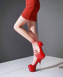 Wholesale Night Club Heels - Sexy Women Pumps Stiletto Super High Heels Platform Night Club Party Slip On Ankle Ribbon Wedding Shoes Size 9 10 red silver gold