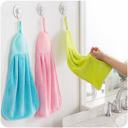 Wholesale Dishcloths Kitchen Towels - Coral fleece kitchen hand towel absorbent hand towel hanging towel thickening mini dishcloth 44x28 cm perfect for family use
