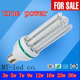 Wholesale E27 Cfl Bulbs - Ultra Bright 3U 4U CFL ture Power 3W 5W 7W 9W 12W 16W 23W 30W LED lamp E27 E14 G24 110V Energy Saving LED Corn Bulb 85-265v led lights