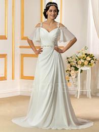 Wholesale Chiffon Beading Wedding Dress - NWD127 2017 fashionable of bride chiffon beading short sleeve wedding dress plus size custom made bridal gown dresses vestido de noiva