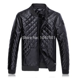 Wholesale Hot Mens Leather Pu Coat - Fall-HOT Men's Motorcycle PU Leather Jacket Men Black Jackets Outdoor Fashion Splice Plaid Mens Jackets And Coats Plus Size M- 5XL