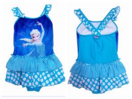 Wholesale Girls Swim Dot - elsa girls swimsuit bow stripe swimsuit blue polka dot swimsuit elsa swimsuit bikini elsa swimming costume queen elsa swimwear swimsuit