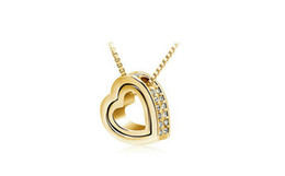 Wholesale High Fashion Jewlery - Double Heart Pendant Necklace Fashion High Quality Alloy Jewelry 18K Gold Plated Women Necklace Crystal Jewlery 8092