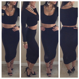 Wholesale womens clothing dress white - 2016 Fashion Novelty Bodycon High Waist Dress Set T6259 Sexy Womens 2 Piece Long Sleeve Short Crop Top and Midi Pencil Skirt Clothing Set