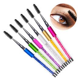 Wholesale Diamond Lashes - Makeup Eye Lash Brush Bendy Eyelashes Comb Brushes Transparent Crystal Diamond Handle Cosmetics Make Up Beauty Tool New Gift