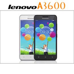 Wholesale Dual Sim Lenovo Phones - Lenovo A3600D Quad Core Phone MTK6582M 4G ROM Dual Camera 4.5Inch TFT Screen Android 4.4 4G LTE Smart Phone