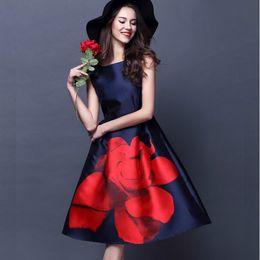Wholesale Empire Roses - 2016 Women Summer Dress Sleeveless Runway Elegant Vintage Rose Large Floral Print Midi High Waist Ball Gown Tank Dress Plus size S-M-XL XXL