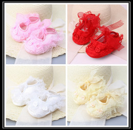 Wholesale Pink Baby Crochet Shoes - Baby Newborn Infant Cute Girls Crochet Lace Flower Lace up Shoes 0-12m prewalker