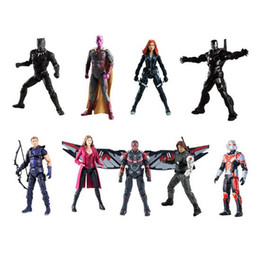 Wholesale Action Figure Heroes - 11 Styles 34.2cm Captain America Ironman Black Panther Avengers Model PVC Action Figure Super Hero Cartoon Collectable Toys CCA8409 12pcs