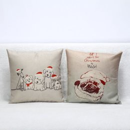 Wholesale Cars Knit Hat - 25 Styles Elk Pug Dinosaur With Hat Linen Square Throw Pillow Cover Home Car Decorative Pillow Case Sofa Cushion Cover For Christmas Decor