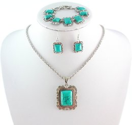Wholesale Turquoise Wedding Jewelry Set - Tibetan Silver Rectangle Turquoise Bracelet Earring Necklace Party Jewelry Sets