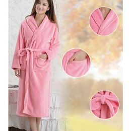 Wholesale Round Neck Long Sleeve Dresses - Wholesale-Women Men Bathrobe Winter Robe Loose Long Sleeves Coral Fleece Bathrobes Spa Shawl Unisex Pajama Nightdress Sleep Dress