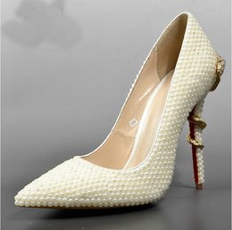 Wholesale Sexy Ivory Heels - Pointed Toe Ivory Pearl Wedding Bridal Shoes Lady High Heels Sexy Woman Dress Shoes Prom High-heeled Shoes Dancing Fashion Shoes