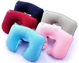 Wholesale Inflatable U Shaped Pillow - 200pcs lot U-Shaped Inflatable Travel Cushion Neck Pillow Portable Folding Travel Air Pillow Inflatable U Shape