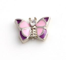 Wholesale Butterfly Locket Pendant - 20PCS lot Enamel Butterfly DIY Alloy Floating Locket Charms Fit For Living Magnetic Locket Pendant Fashion Jewelrys
