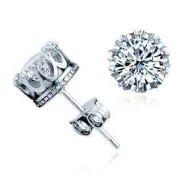 Wholesale Crown Diamonds - Fashion Bridal Crown Wedding Stud Earring 2017 New 925 Sterling Silver CZ Simulated Diamonds Engagement Beautiful Jewelry Crystal Ear Rings