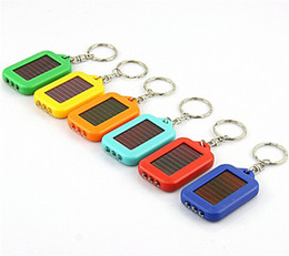Wholesale Mini Solar Powered Led Light - 20pcs Cute Model Solar Power Keychain LED Flashlight Light Lamp Mini Key Chain 3 LED Multi-color Rechargeable Key Chain Flashlights