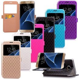 Wholesale Galaxy Display Card - Caller ID Display Open Luxury Slot Stand Window Vertical Wallet Leather For Samsung Galaxy S7 Edge Grand Prime G530 Card Slot Holder Pouch