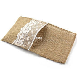 "Wholesale Vintage Cutlery - Fashion Hot Vintage 4""x8"" Hessian Burlap Lace Wedding Tableware Pouch Cutlery Holder Decorations Favor"