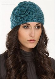Wholesale Winter Womens Beanies - Womens Soft Warm Crochet Knitting Wool Headbands Ladies Winter Yarn Head Wrap Beanies hair accessories headwear Flower Bandanas Hats WHA48