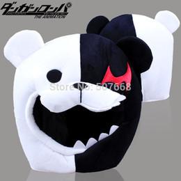 Wholesale bear men costume - Wholesale-Anime Cartoon Dangan Ronpa Bear Monokuma Hat Cap Cosplay Prop Costume Black&White Color