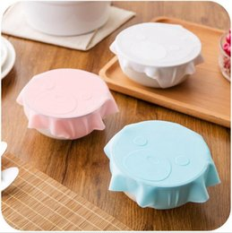 Wholesale Fresh Lids - Bowl Seal Cover Cling Film Silicone Saran Wrap Food Fresh Keeping Lids Cute Preservation Tableware Cover OOA3515