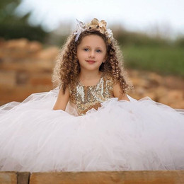Wholesale sexy lovely girls - Lovely 2018 Sequins Ball Gown Flower Girls Dresses Sexy Backless Puffy Tulle Kids Pageant Gown Custom Made First Communion Dresses Cheap