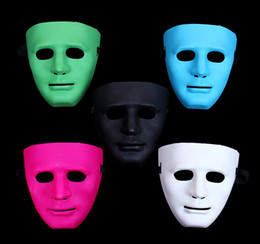 Wholesale Blue Red Green Masks - Hot Festival Mask Bboy hiphop mask Halloween party masks JabbaWo Mask Girls boys men women party costome pure 8 color mask EMS 200pcs