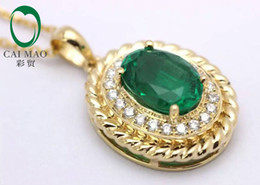 Wholesale Emerald Cut Diamond Yellow Gold - Wholesale-6x8mm Oval Cut 14K Yellow Gold 1.25ct Emerald & 0.11ct Diamond Accented Rope Engagement Pendant free shipping