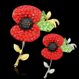 Wholesale Gold Broaches - Red Poppy Flower Crystal Broach Gold Plated Banquet Badge Brooch Pin Breastpin for Women Men Fine Jewelry 30 Style Choose