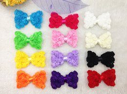 """Wholesale White Rose Wedding Hair Clips - 24pcs 3"""" mixed Color Rose Flower Lace Chiffon Bow For Hair Clip Bridal Wedding Decoration Hawaii Party"""