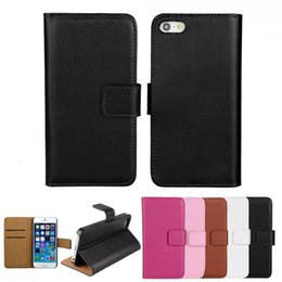 Wholesale Iphone 4s Covers Wallet - For iphone 4 4S 5 5S Real Genuine Leather Wallet Credit Card Slot Holder Stand Case Cover For iphone5 iphone4
