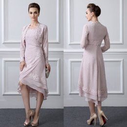 Wholesale Classy Winter Jackets - Classy Pearls Mother Of The Bride Dresses With Jacket Spaghetti Neck Weddings Guest Dress Lace Appliqued High Low Formal Evening Prom Gowns