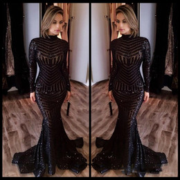 Wholesale Nude Long Sleeve Shirt - Bling Bling Michael Costello Long Sleeve Evening Dresses Black Sequins High Neck Mermaid Sexy Celebrity Gowns Pageant Prom Gowns