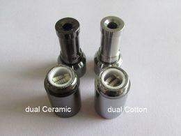 Wholesale Double Wicks - New mini Skillet vaporizer Ego D Dry Herb Wax Atomizer Multi Colors Dual Ceramic Coil and Titanium Wick Double Rod Skillet Vaporizer