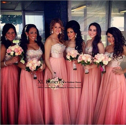 Wholesale Champagne Colored Wedding Dresses - Elegant Coral Colored Bridesmaid Dresses 2015 With Sparkly Crystal Beaded One Shoulder Long Wedding Guest Dress to Party