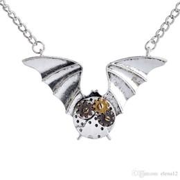 Wholesale Halloween Bat Wings - 3 colors punk Mech necklace gear bat pendant necklaces animal wings charm statement necklaces punk jewelry 2016 statement HOT SALE 160474