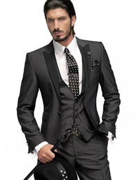 Wholesale Slim Fit Grey Suits - Slim Fit One Button Groom Tuxedos Charcoal Grey Best Man Peak Black Lapel Groomsmen Men Wedding Suits Bridegroom (Jacket+Pants+Tie+Vest)H751