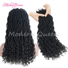 Wholesale Cheap Wands - Cheap 18'' Wavy Synthetic Fauxlocs And Curl Crochet Braid Hair 24Roots Faux Locks Hair Extensions 100g Soft Dreadlocks Wavy And Wand Curl